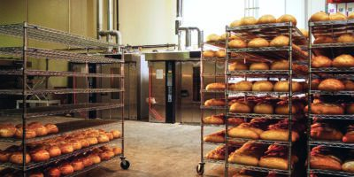 Carts Full of Bread at Bakery